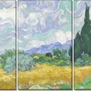 Модульная картина Пшеничное поле с кипарисами, Винсент ван Гог фото
