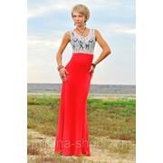 Платье в пол верх - белое кружево в цветочек, низ - красный Платья для коктейля фото