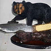 Статуэтка зверя и охотничий нож 1214 23x18x12см фото