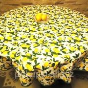 Скатерть хлопковая Лимонная фантазия круг фото
