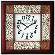 Часы насыпные в деревянном корпусе. В качестве насыпки используются: фасоль, горох, макароны, гречка, рис. фото