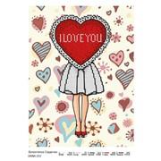 Схема для частичной вышивки бисером Валентинка сердечко фото