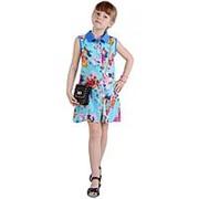 Красивое летнее платье-рубашка голубого цвета без рукавов 116 фото