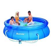 Бассейн с надувным бортом с фильтр-насосом.57270, размер 305х76 см, фото