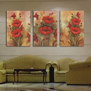 Триптих Алый цвет Картина на холсте фото