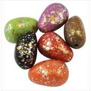 Бусины акриловые каплевидные с золочением с напылением золотистой краски, разных цветов фото
