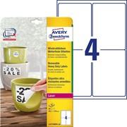 Этикетки Avery Zweckform всепогодные, удаляемые, 99,1 x139 мм, полиэстер, L+K+CL, 80 штук, 20 листов Белый фото
