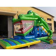 Батут надувной механический Крокодил фото
