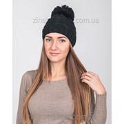 Вязаная шапка с помпоном черная фото