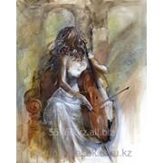 Картина стразами Девушка с виолончелью 40х50 см фото