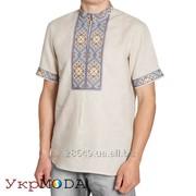 Мужская льняная вышиванка с национальным орнаментом короткий рукав (СМ-018) фото