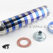 Глушитель тюнинг 420*100mm, креп. Ø78mm нержавейка, зебра, серебристо-синий, прямоток, mod:3 фото