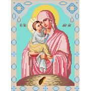 Икона ручной работы Пресвятая Богородица Почаевская вышитая бисером фото