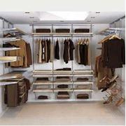 Гардеробная ELFA - П-образная гардеробная комната металл-платина декор-берёза фото