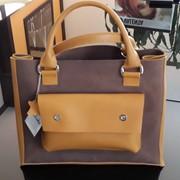 Оригинальная женская сумка Valenta из натуральной кожи комбинированная желто-коричневая фото