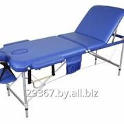 Складной 3-х секционный алюминиевый массажный стол BodyFit, синий фото