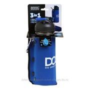 Комплект дорожный для собак (бутылка 600мл + миска), синяя DOOG фото