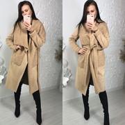 Женская двухсторонняя дубленка-пальто в расцветках. МА-1-1018 фото