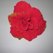 Голова розы бархатной с золотом d 13см фото