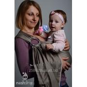 Слинг с кольцами для новорожденных и старше тм Наш слинг Грей сатиновый фото