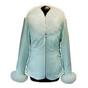 Кашемировая куртка с мехом песца мятного цвета фото