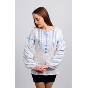 Женская вышиванка Геометрия (серо - голубая вышивка) 58 фото