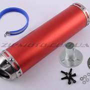 Глушитель тюнинг 300*90mm, креп. Ø48mm нержавейка, красный, прямоток, mod:10 фото