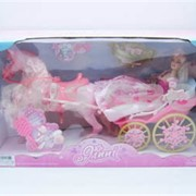 Кукла с каретой и лошадьми фото