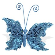 Декор Бабочка бархатная 14х15см голубой топаз фото