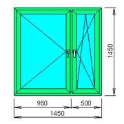 Расчёт цена пластикового окна (декор под дерево с обеих сторон) с двухкамерным стеклопакетом фото