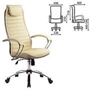 Кресло для руководителя Metta BC-5CH, кожа, хром, бежевое фото