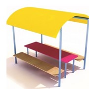 Стол с сидениями и навесом СМ.10.04. фото