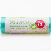 Биоразлагаемые пакеты для мусора ECOWAY, 30л/20шт фото