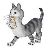 Фигура Кошка с котятами серая 19008 фото