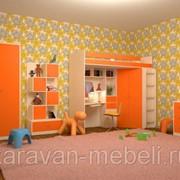 Детская комната Астра дуб молочный/оранжевый фото