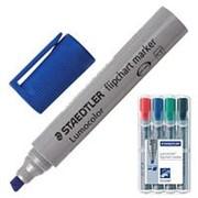 Набор маркеров для флипчарта Staedtler Lumocor 2 мм, скошенный пишущий узел, в пластиковом пенале, 4 цвета фото