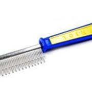 Расческа разные зубья сине-желтая ручка 308 фото