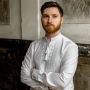 Однотонная вышитая сорочка из домотканого полотна с длинным рукавом для мужчин (Б-5085) фото