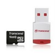 Карта памяти Transcend MicroSDHC 16GB (Class 10) + ридер (TS16GUSDHC10-P3) фото