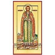 Храм Покрова Богородицы Андрей Боголюбский, святой благоверный князь, ростовая икона на сусальном золоте (дерево 2 см с ковчегом) Высота иконы 19 см фото