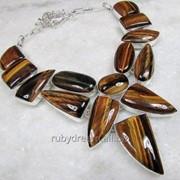 Колье, ожерелье из натурального ТИГРОВОГО ГЛАЗА фото