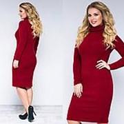Тёплое женское платье бордовое батал (10 цветов) ТК/-02021 фото