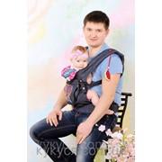 """Эргономичный рюкзак """"My baby""""синий джинс (дизайн клетка) фото"""