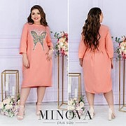 Льняное платье батал с аппликацией бабочка на груди (4 цвета) ОМ/-816 - Розовый фото