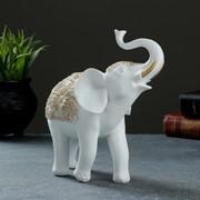 """Фигура """"Слон"""" белый+золото 19х7х20см фото"""
