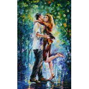 «Страстный поцелуй», Леонид Афремов, репродукция фото