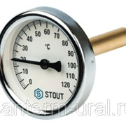 Термометр биметаллический Ø 100 мм, погружной гильза 75 мм STOUT фото
