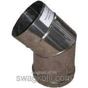 Колено для дымохода одностенный, нерж. 130х45° фото