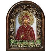 Золотошвейные мастерские, Дивеево Мария Магдалина, мироносица, святая равноапостольная, дивеевская икона ручной работы из полудрагоценных камней и фото