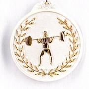 Медаль рельефная тяжелая атлетика - серебро фото